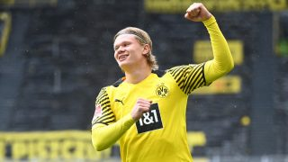 Haaland celebra un gol con el Borussia Dortmund (AFP).