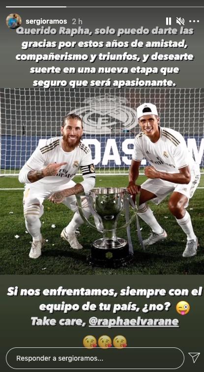 Ramos manda un mensaje a Varane: «Gracias por estos años de amistad y compañerismo juntos»