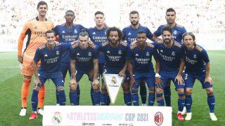 La alineación del Real Madrid contra el Milan.