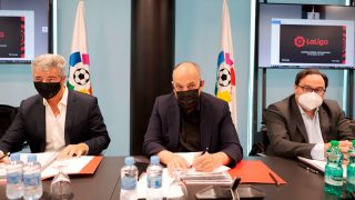 Javier Tebas, durante la Asamblea de la Liga. (EFE)