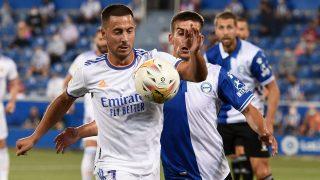 Hazard, en el partido contra el Alavés. (AFP)