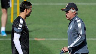 Ancelotti y Cristiano Ronaldo, en un entrenamiento. (Getty)