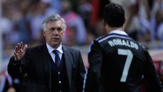 Carlo Ancelotti y Cristiano Ronaldo. (Getty)
