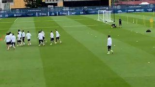 Mbappé, en el entrenamiento del PSG. @Canal Supporters
