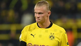 Haaland, durante un encuentro con el Borussia Dortmund (AFP)