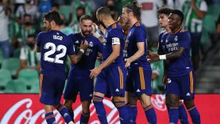 Los jugadores del Real Madrid celebran el tanto de Dani Carvajal. (Getty)