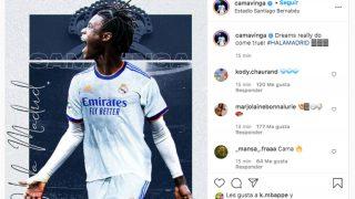 Kylian Mbappé le dio me gusta a la primera publicación de Camavinga como jugador del Real Madrid.