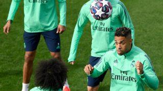Mariano Díaz, en un entrenamiento del Real Madrid. (AFP)