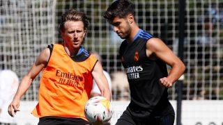 Modric, durante un entrenamiento con el Real Madrid. (Realmadrid.com)