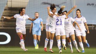 Las jugadoras del Real Madrid celebran el gol de Zornoza, ante el Manchester City (Getty).