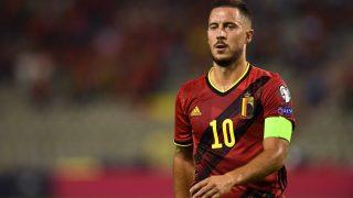 Hazard, durante un partido de Bélgica. (AFP)