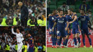 A la izquierda, Zidane y Ramos en el último partido disputado en el Santiago Bernabéu; a la derecha, los jugadores del Real Madrid celebran el gol de Carvajal ante el Betis (AFP)