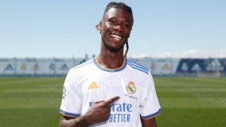 Camavinga, durante su presentación con el Real Madrid. (Realmadrid.com)