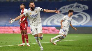 Benzema celebra el 1-1 en el Real Madrid-Celta. (Getty)