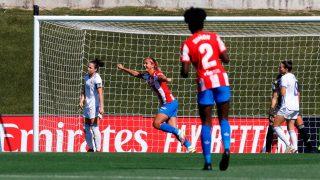 Deyna Castellanos celebra su gol contra el Real Madrid (EFE).
