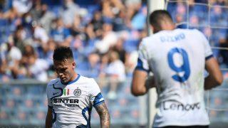 Lautaro y Dzeko, en un partido del Inter. (AFP)