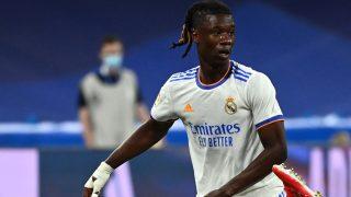 Camavinga, en un partido con el Real Madrid. (AFP)