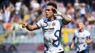 Lautaro celebra un gol con el Inter. (AFP)