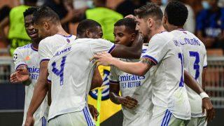 Rodrygo celebra el gol en San Siro. (AFP)