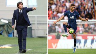 A la izquierda, Antonio Conte; a la derecha, Achraf, durante un encuentro con el PSG (Getty/AFP)