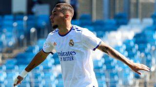 Óscar Aranda celebra uno de sus goles ante el Nástic (Real Madrid).
