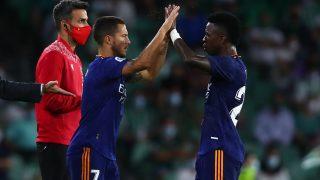 Hazard y Vinicius, en un partido del Real Madrid. (Getty)