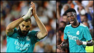 Benzema y Vinicius, en el Valencia-Real Madrid de Mestalla. (Getty)