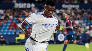 Vinicius celebra un gol con el Real Madrid. (AFP)