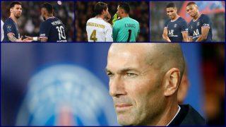 Arriba: Messi, Neymar, Ramos, Keylor, Achraf y Mbappe; abajo: Zinedine Zidane. (AFP)