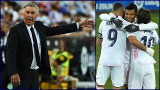 A la izquierda, Ancelotti; a la derecha, Benzema, Casemiro y Modric. (AFP)