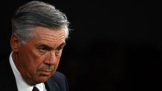 Ancelotti en el partido ante el Villarreal. (AFP)