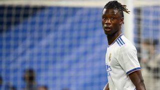 Camavinga, durante un partido con el Real Madrid. (AFP)
