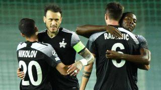 Los jugadores del Sheriff celebran su victoria en el primer partido de Champions League (AFP)