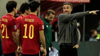 Luis Enrique y Marco Asensio. (AFP)