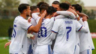 El Castilla celebra un gol. (Realmadrid.com)