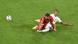 Hazard, durante el Bélgica – Francia. (AFP)