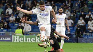 Luka Jovic, durante el partido de Champions League ante el Sheriff (AFP)