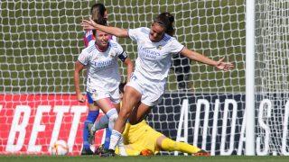Rocío celebra el gol de la victoria ente el Eibar (Realmadrid.com).