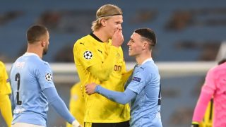 Haaland, junto a Foden en un partido del Manchester City. (Getty)