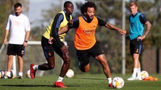 Ferland Mendy y Marcelo, durante un entrenamiento del Real Madrid (Realmadrid.com).