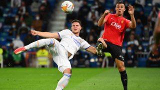 Luka Jovic frente al Real Mallorca esta temporada. (AFP)