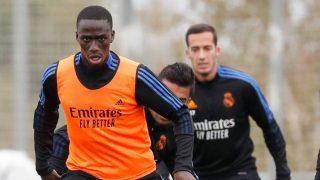Mendy, en un entrenamiento con el Real Madrid.