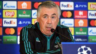 Ancelotti, durante una rueda de prensa. (AFP)