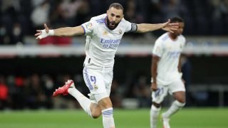 Benzema celebra un gol con el Real Madrid (Getty)
