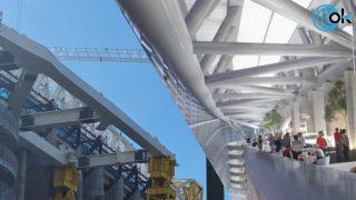 La comparativa del vídeo oficial y la nueva viga de la Castellana en el Bernabéu.