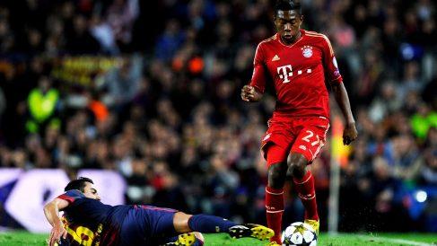 Alaba, durante un Barcelona – Bayern. (Getty)