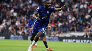 Rudiger, tras marcar un gol con el Chelsea en la Premier esta temporada (Getty)