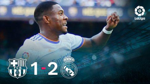 Alaba celebra el 0-1 del Real Madrid en el Clásico ante el Barcelona.