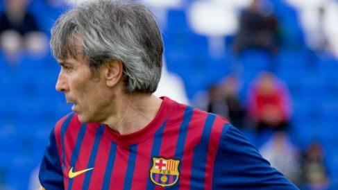 El Lobo Carrasco durante un partido con los veteranos del Barcelona.