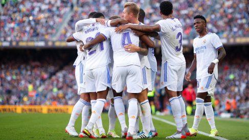 Los jugadores del Real Madrid, celebran uno de los goles en el Clásico (Getty).